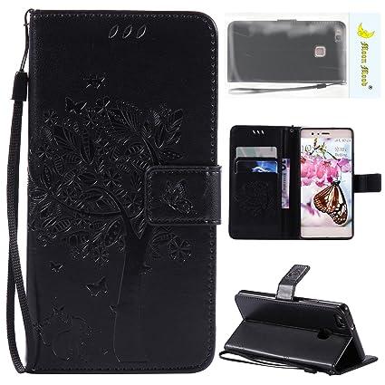 Huawei P9 Lite Funda de Piel, Carcasa Huawei P9 Lite Libro, Negro Flip Funda Carcasa Case con Tapas y Cartera Billetera Cover Bumper Protectora Caja ...