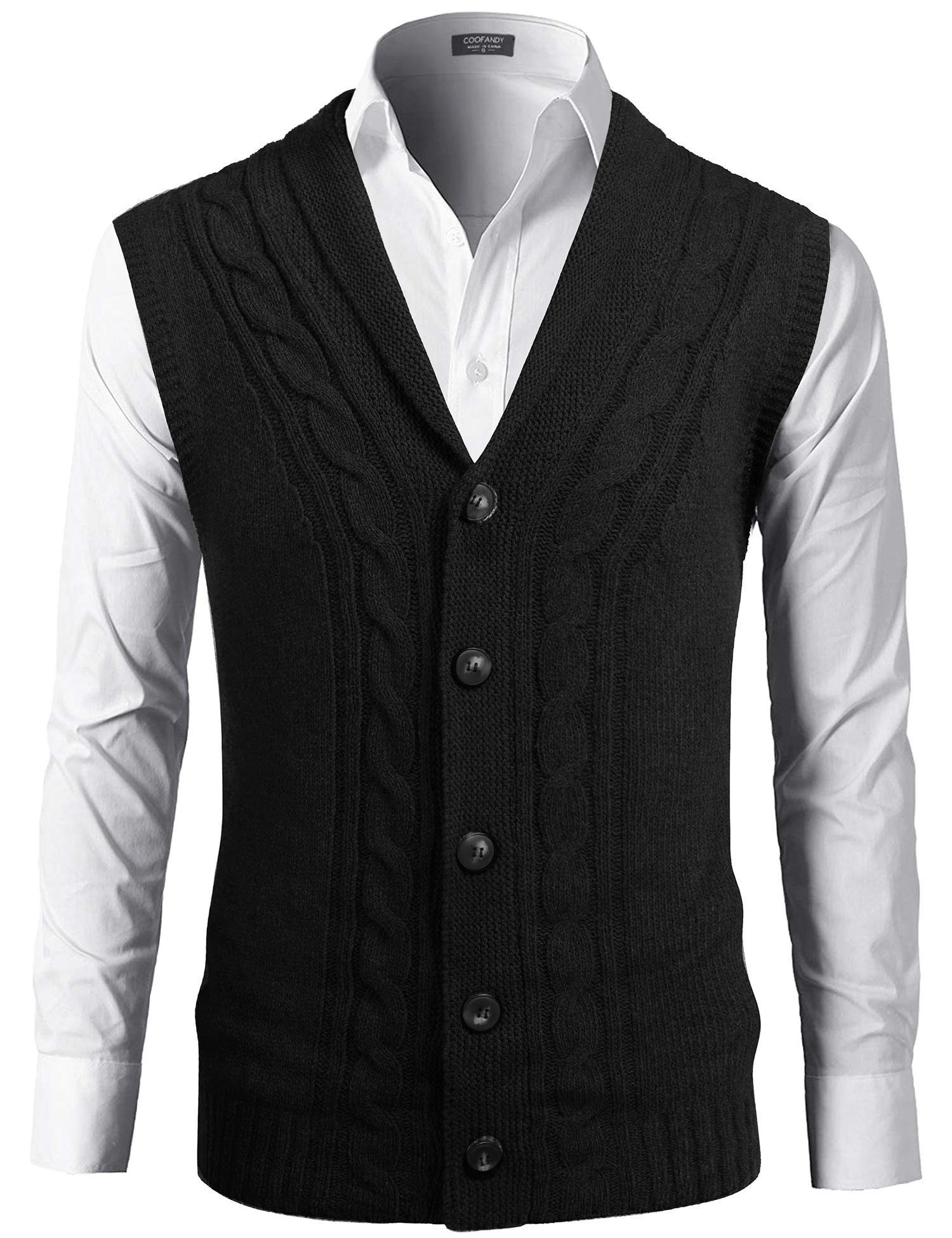 COOFANDY Mens Cardigan Sweater Vest V-Neck Sleeveless Front Button Knitwear Cardigan Waistcoat Black by COOFANDY