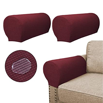 Enjoyable Sofa Armrest Covers 2 Pieces Set Water Repellent Anti Slip High Stretch Knitted Jacquard Couch Arm Slipcover Protector Shield For Dog Cat Pets Theyellowbook Wood Chair Design Ideas Theyellowbookinfo