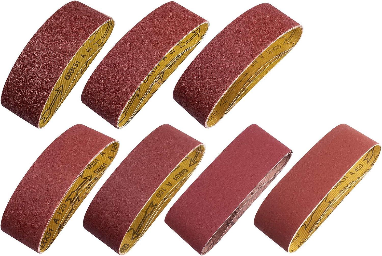 Sanding Belt 20 PCS Sander Belt 3×21-Inch, Aluminum Oxide (3 Each of 60, 80, 120,150,240,400 Grits, 2 of 40 Grits) SATC