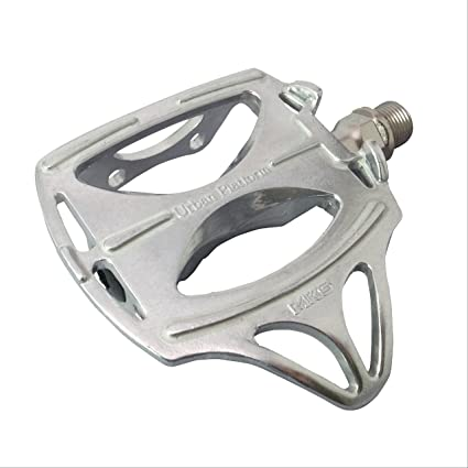 MKS GR-9 Alloy Pedals w// Silver Steel Large Toe Clips /& Black Leather Straps