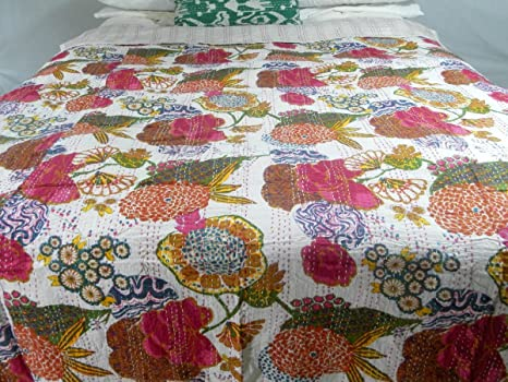 Sophia-Art Designer Bedspreads Tropical Quilts Coverlets (Twin, White)