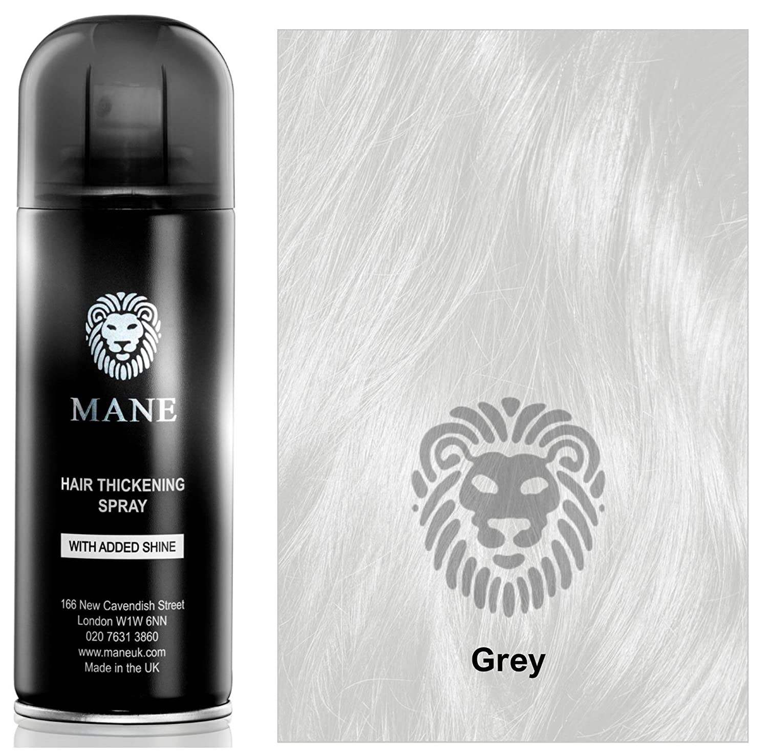 Grey - Hair thickening Spray with added shine by Mane UK - for Hair Loss and thinning Hair and to conceal roots MANE UK LTD GRMHT
