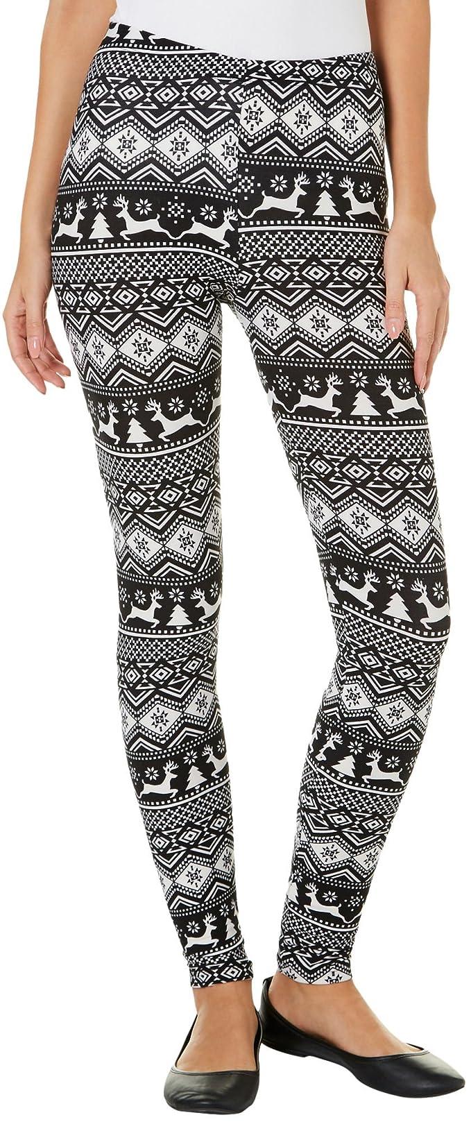 9a9b7a56669dff Derek Heart Juniors Reindeer Aztec Print Leggings [3YKIg0200006 ...