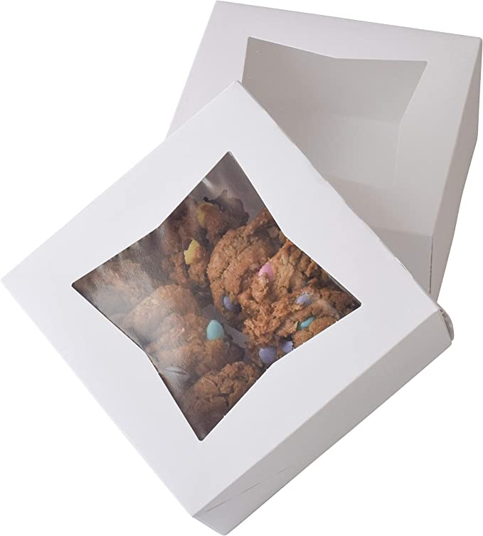 Cupcakes and Cookies Boxes Paper Box Brown 65-Foot Red Ribbons T-Language 15Packs 6X 6 x2.5Inch Bakery Boxes with Clear Window Stickers for Pie