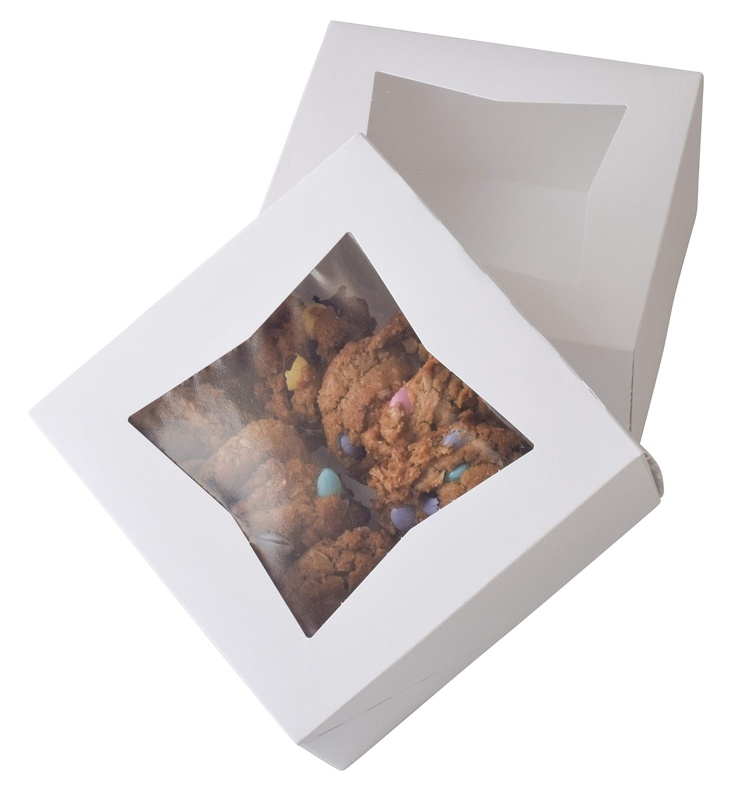 6'' x 6'' x 3'' White Bakery Box | Auto-Popup | Small Pie Boxes with Window | 20 Pack by JA Kitchens