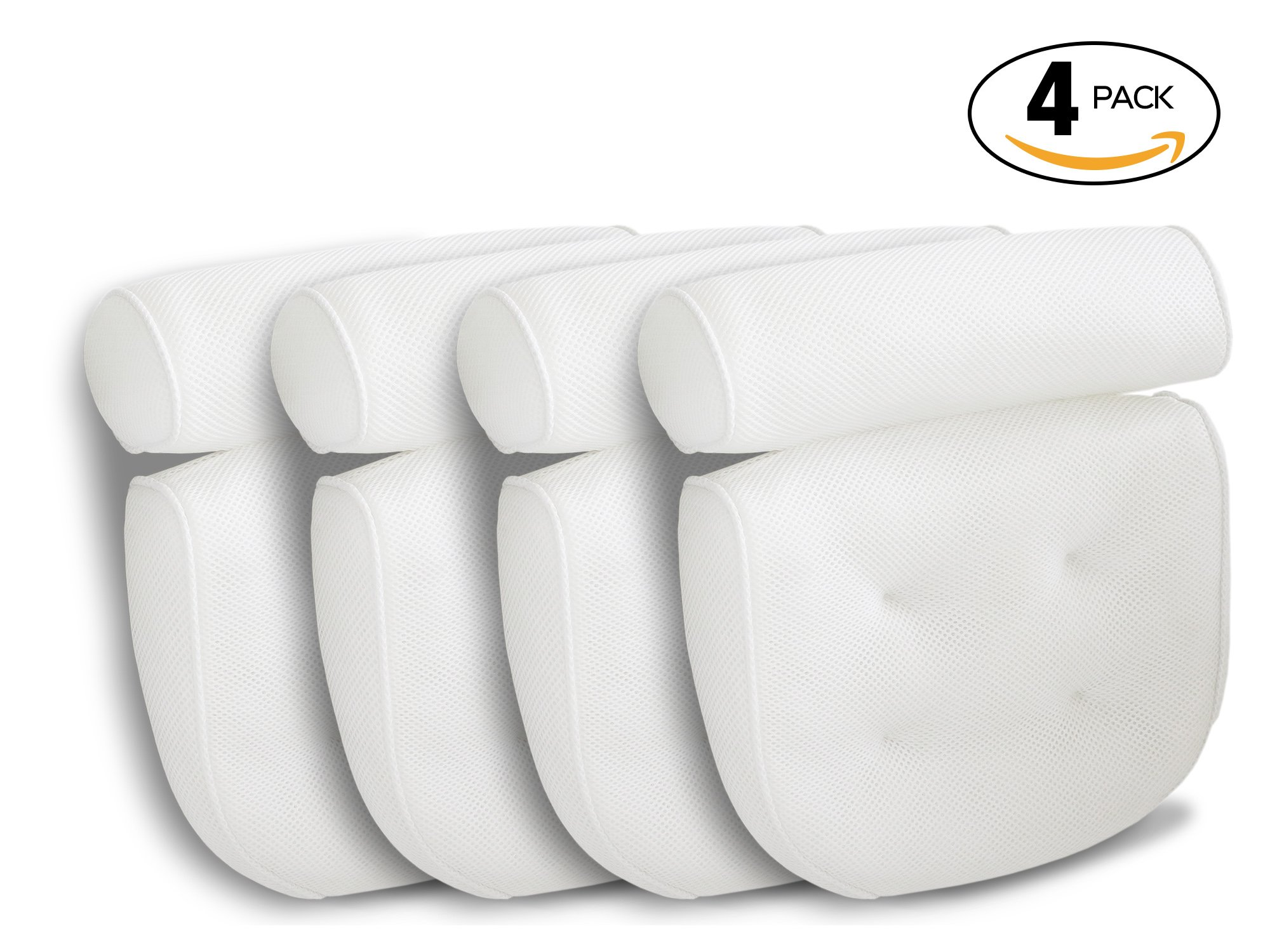 Viventive Luxury Spa Bath Pillows 4 Pack with Head, Neck, Shoulder and Back Support. Non-Slip, Extra Thick, Soft and Large 14x13in for the ultimate relaxation experience. Fits any tub. by