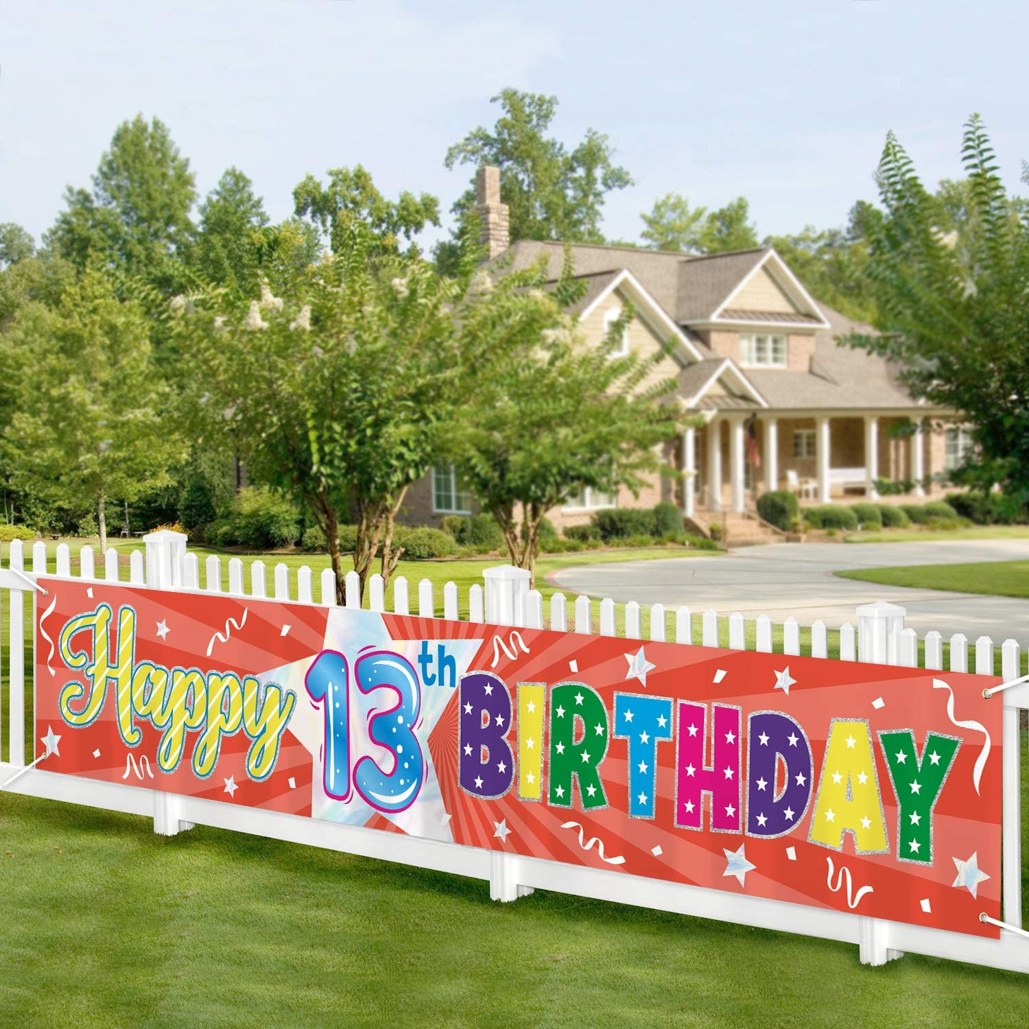 Pink Crown Happy 13th Birthday Banner Official Teenager Banner 13 Year Old Birthday Party Decorations Supplies Sign Backdrop,Custom Banner