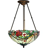 Bieye L40741 Rose Flower Tiffany Style Stained Glass Ceiling Pendant Light with 18-inch Wide Lampshade, 3 Lights