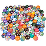 SNInc. Bouncy Ball Assortment Bulk Pack Of 100 Super Balls In Bright Colors And Mixed Designs