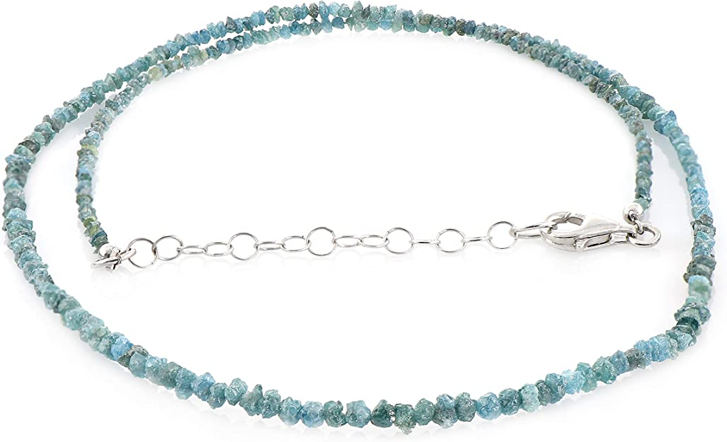Collier de diamants bleus naturels, diamants bruts naturels, perles brutes naturelles.