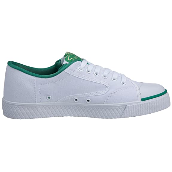 Amazon.com | Dunlop Green Flash Canvas Trainers (Laced) - White/Green - US-13 | Shoes