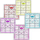 Patchwork Lineal Zentimeterraster 15 cm x 15 cm Pink, Lila, Rot, Blau, Gelb (Rot)