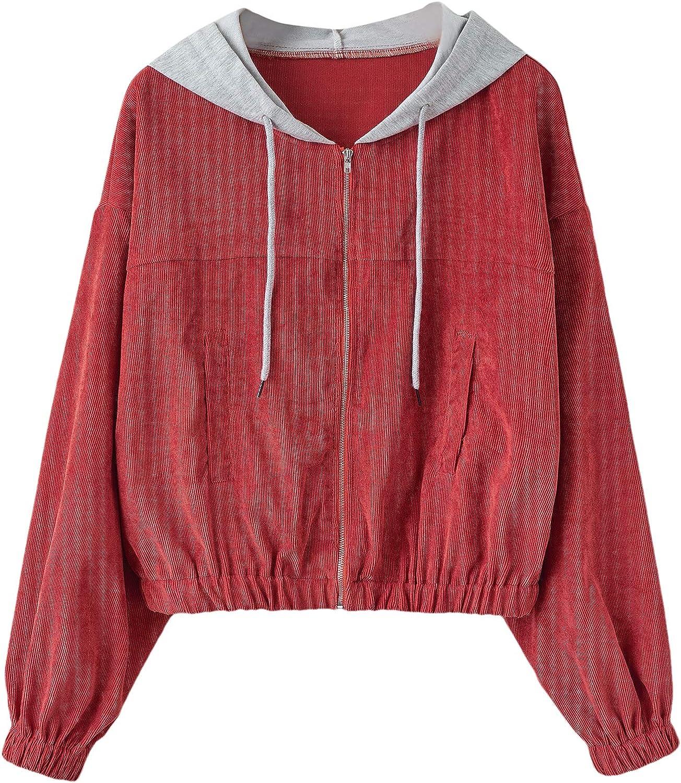 SweatyRocks Women's Cute Long Sleeve Full Zip Cropped Hooded Corduroy Jacket Coat
