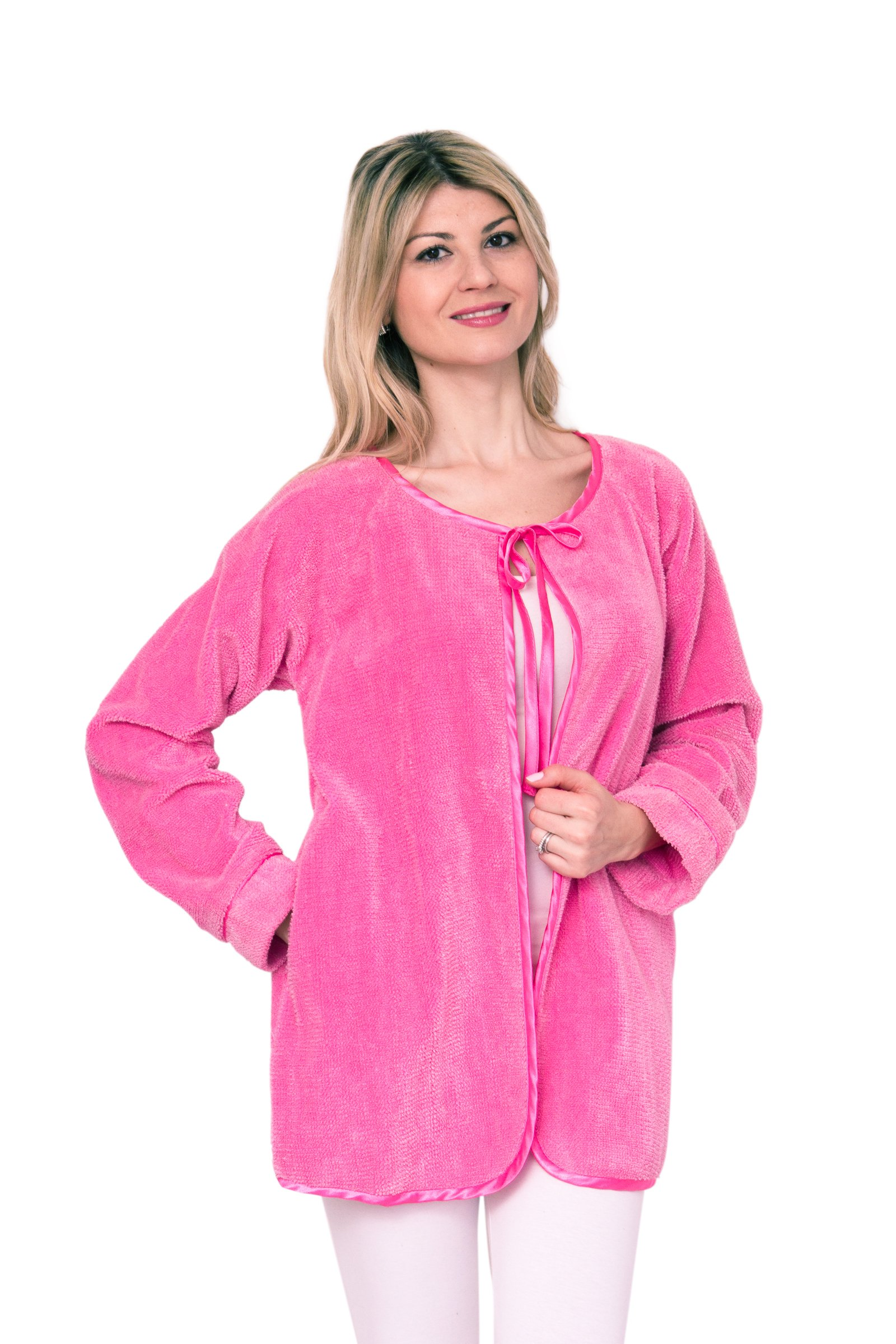 Bath & Robes Satin Tie up Chenille Bed Jacket Soft Luxury Large Pink