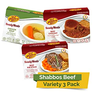 Kosher MRE Meat Meals Ready to Eat, Shabbos Beef Variety (3 Pack) - Prepared Entree Fully Cooked, Shelf Stable Microwave Dinner – Travel, Military, Camping, Emergency Survival Protein Food Supply Kit