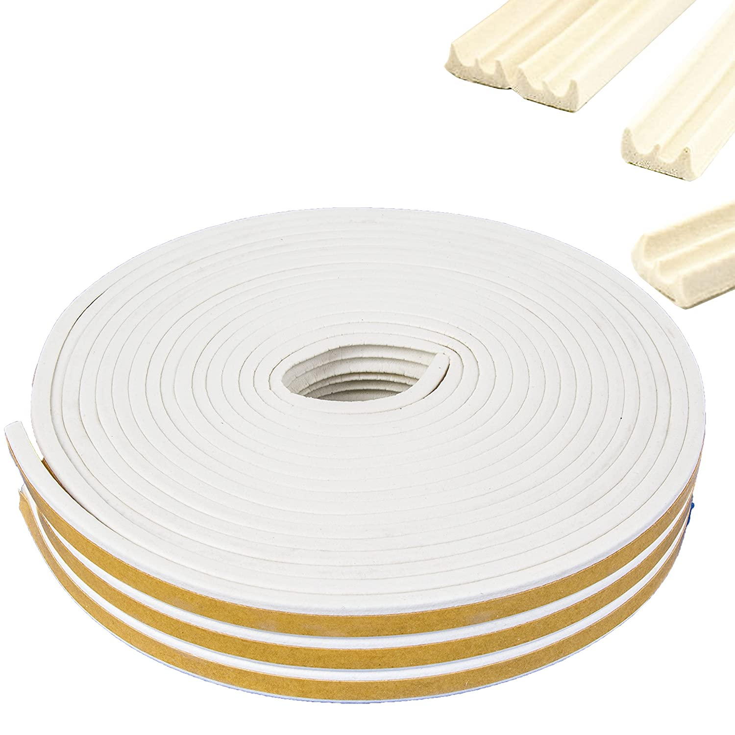 15m of E-Profile Self-Adhesive Weather Strip for Stopping Draughts in Gaps of 1-3mm White Hinge