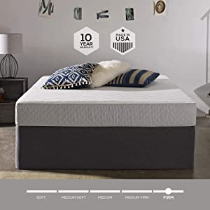 Sleep Innovations Sage 8-inch Cooling Gel Memory Foam Mattress, Bed in a Box, Made in The USA, 20-Year Warranty, Queen