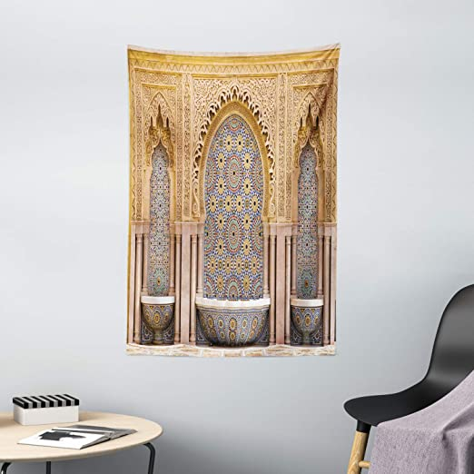 Amazon Com Ambesonne Moroccan Tapestry Typical Moroccan Tiled Fountain In The City Of Rabat Near Hassan Tower Wall Hanging For Bedroom Living Room Dorm Decor 40 X 60 Brown Apricot Home Kitchen
