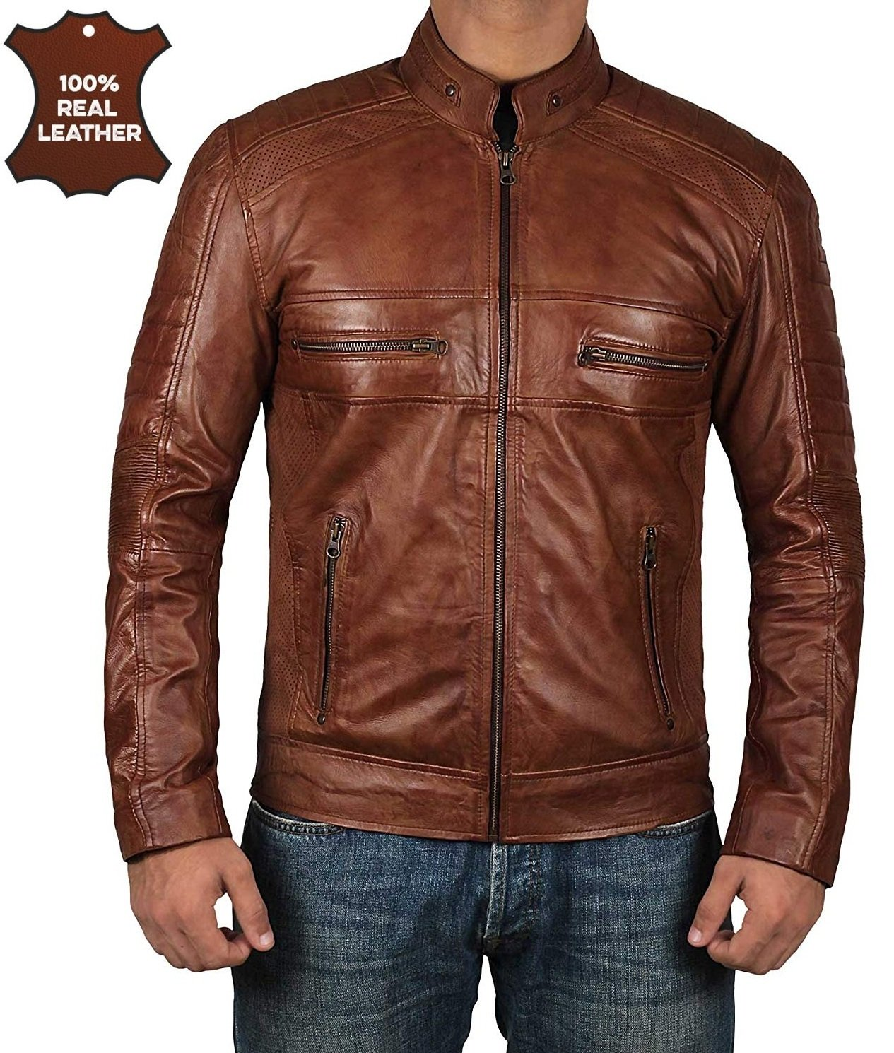 Decrum Moto Leather Jacket Men - Brown Quilted Mens Leather Jackets - Austin L by Decrum