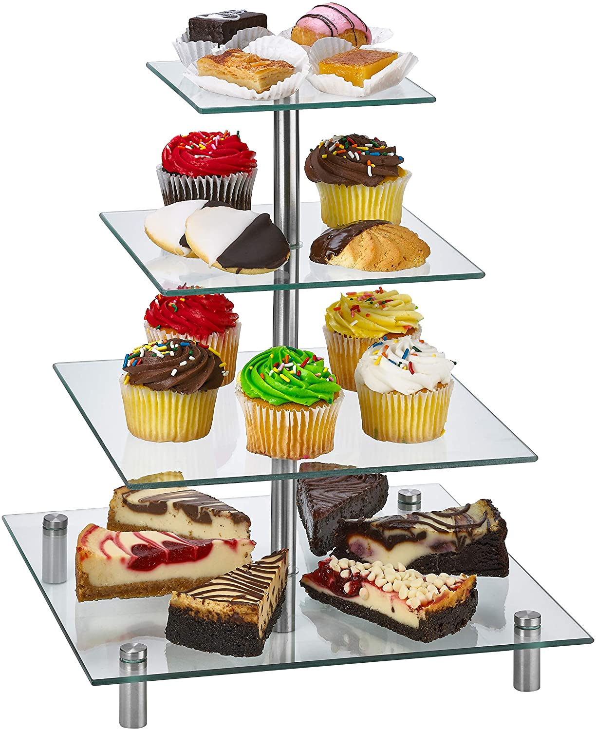 ZAFUU 4 Tier Square Tempered Glass Cupcake Stand | Modern Cake Stand, Dessert Tower, Afternoon Tea Stand for Cakes, Pastries, Sandwiches