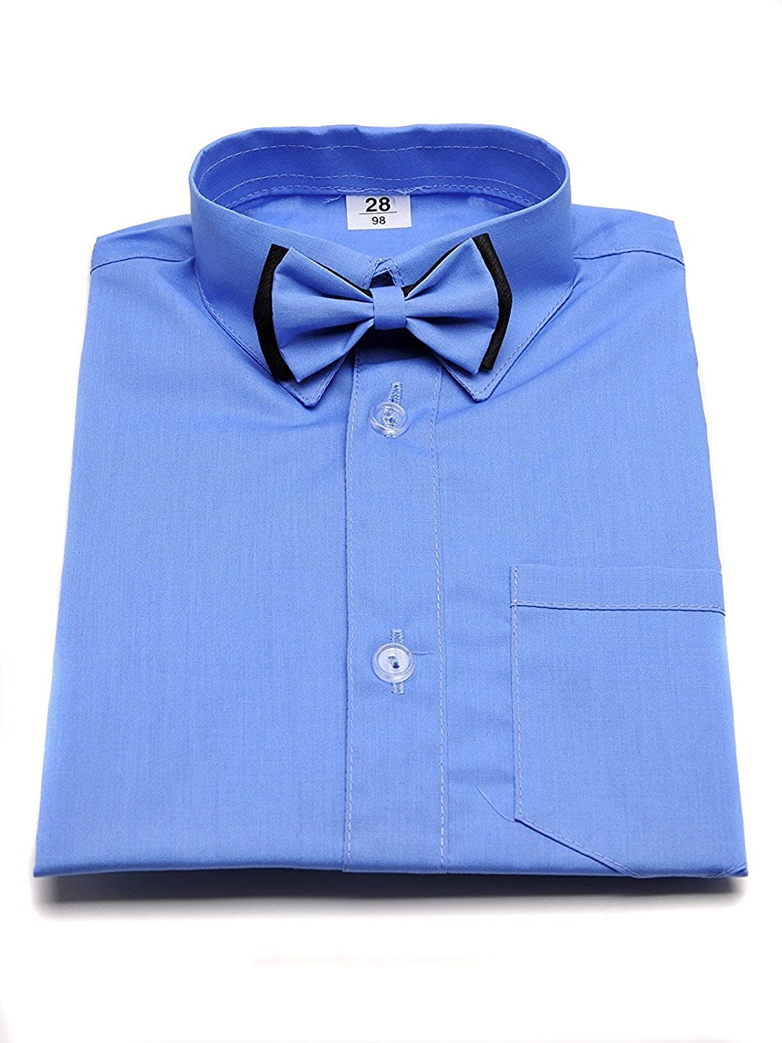 Boy's Formal Shirt Blue with Bow Tie and Long Sleeves. Wedding Christening Smart Party School