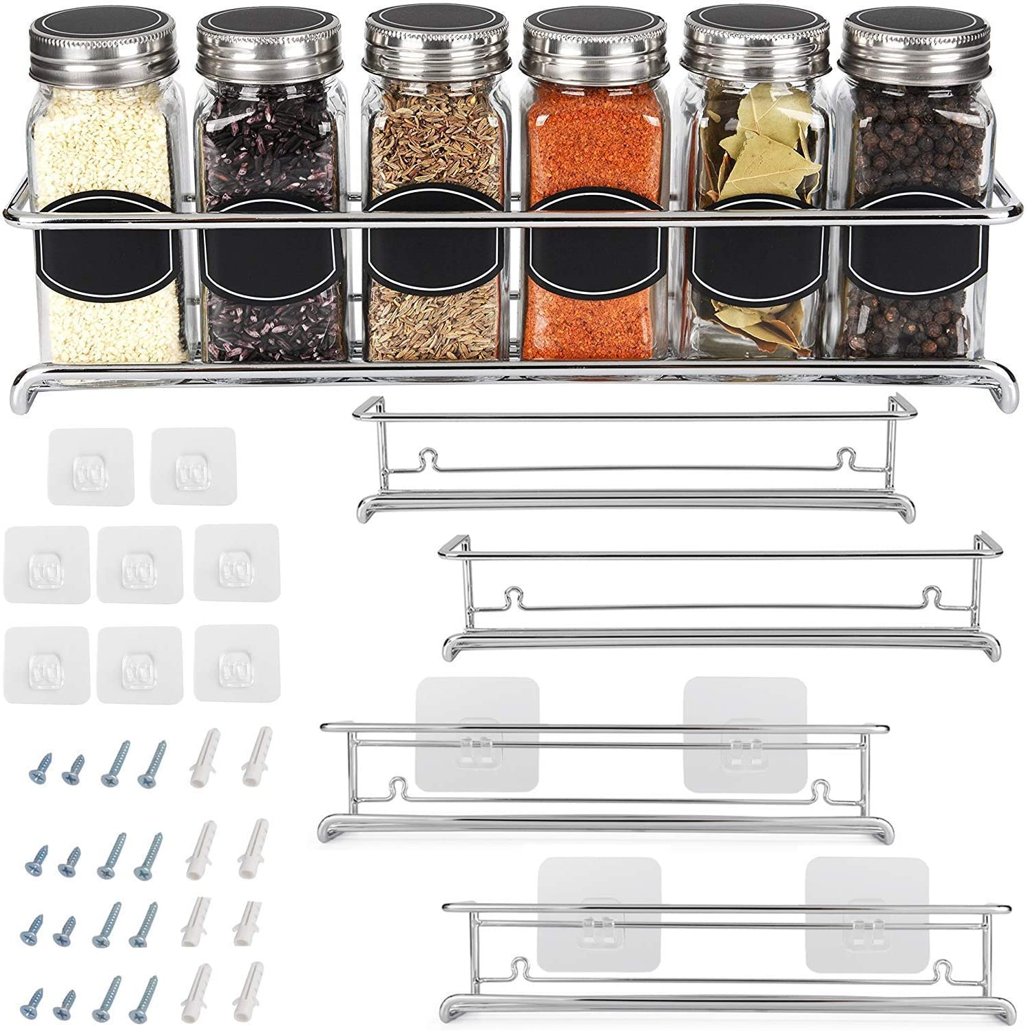 Amazon Com Spice Rack Organizer For Cabinet Door Kitchen Pantry Organization And Storage Set Of 4 Chrome Tiered Hanging Shelf For Spice Jars And Seasonings Door Mount Wall Mounted Under Sink
