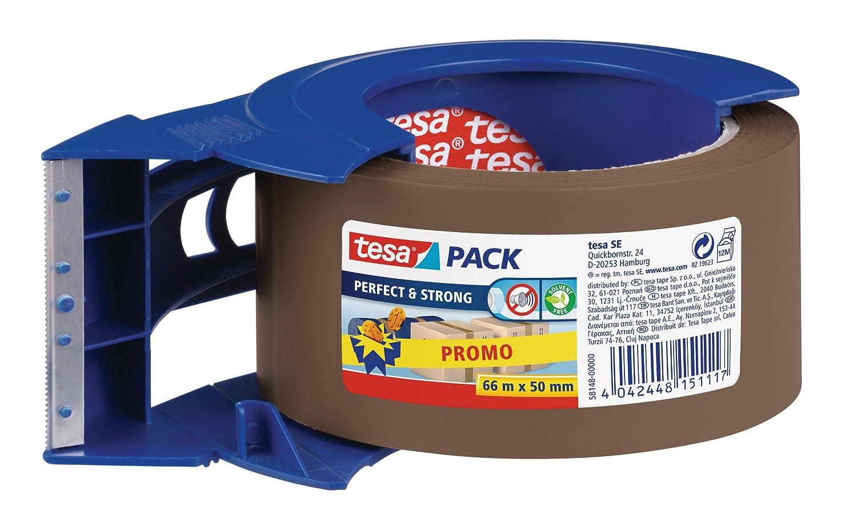 Tesa 58148-00000-00 - Nastro da pacchi robusto, 66 m x 50 mm, con porta-nastro, colore: Marrone tesa SE