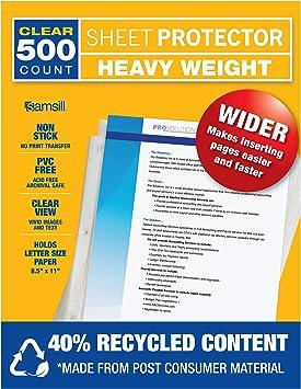 3.3 Mil Thickness Samsill 500 Clear Heavyweight Sheet Protectors Top Loadin...