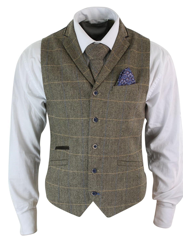 30f3450523bf4 Cavani Gilet Homme Veston Classique Tweed à Chevrons Carreaux Marron Gris  Coupe Slim Cintrée Vintage