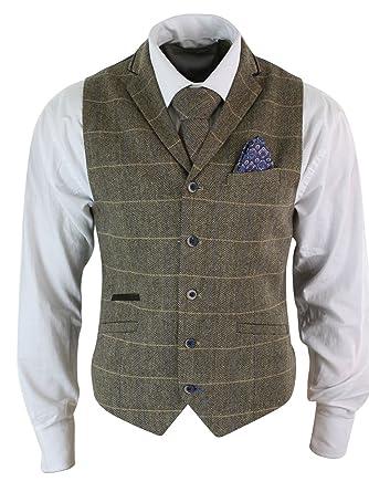 Cavani Gilet Homme Veston Classique Tweed à Chevrons Carreaux Marron Gris  Coupe Slim Cintrée Vintage  Amazon.fr  Vêtements et accessoires b9d66de75fb