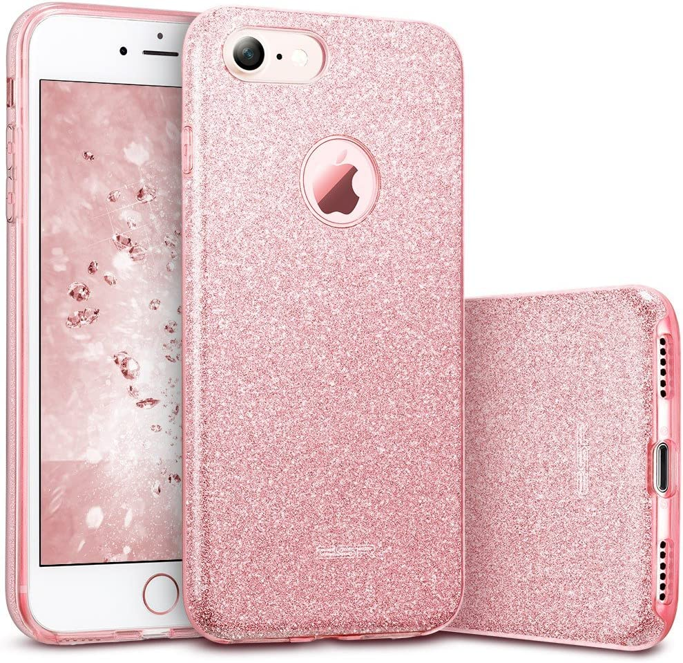 Amazon Com Esr Iphone 7 Case Bling Glitter Sparkle Three Layer Shockproof Soft Tpu Outer Cover Hard Pc Inner Protective Shell Skin For Apple 4 7 Iphone 7 Rose Gold