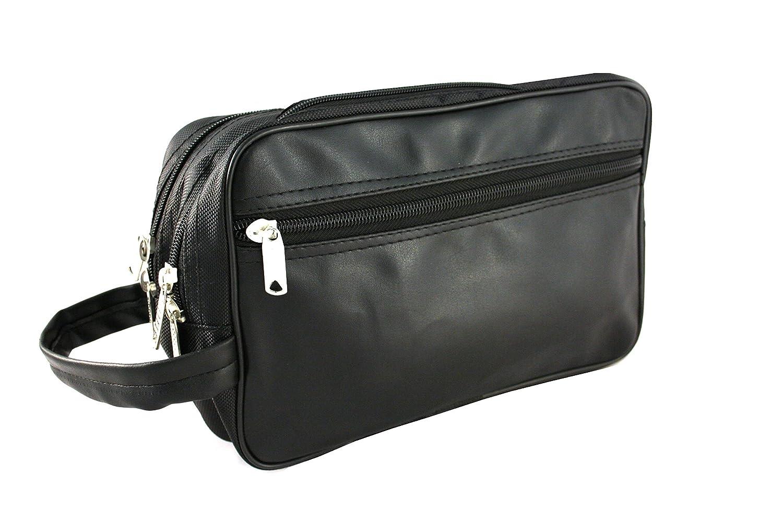 Borsa da toilette Bilson uomo in similpelle nera con doppia tasca - borsa da bagno di alta qualità, uomo, in pelle sintetica morbida nera + bag / beauty case / borsa da toilette con strap