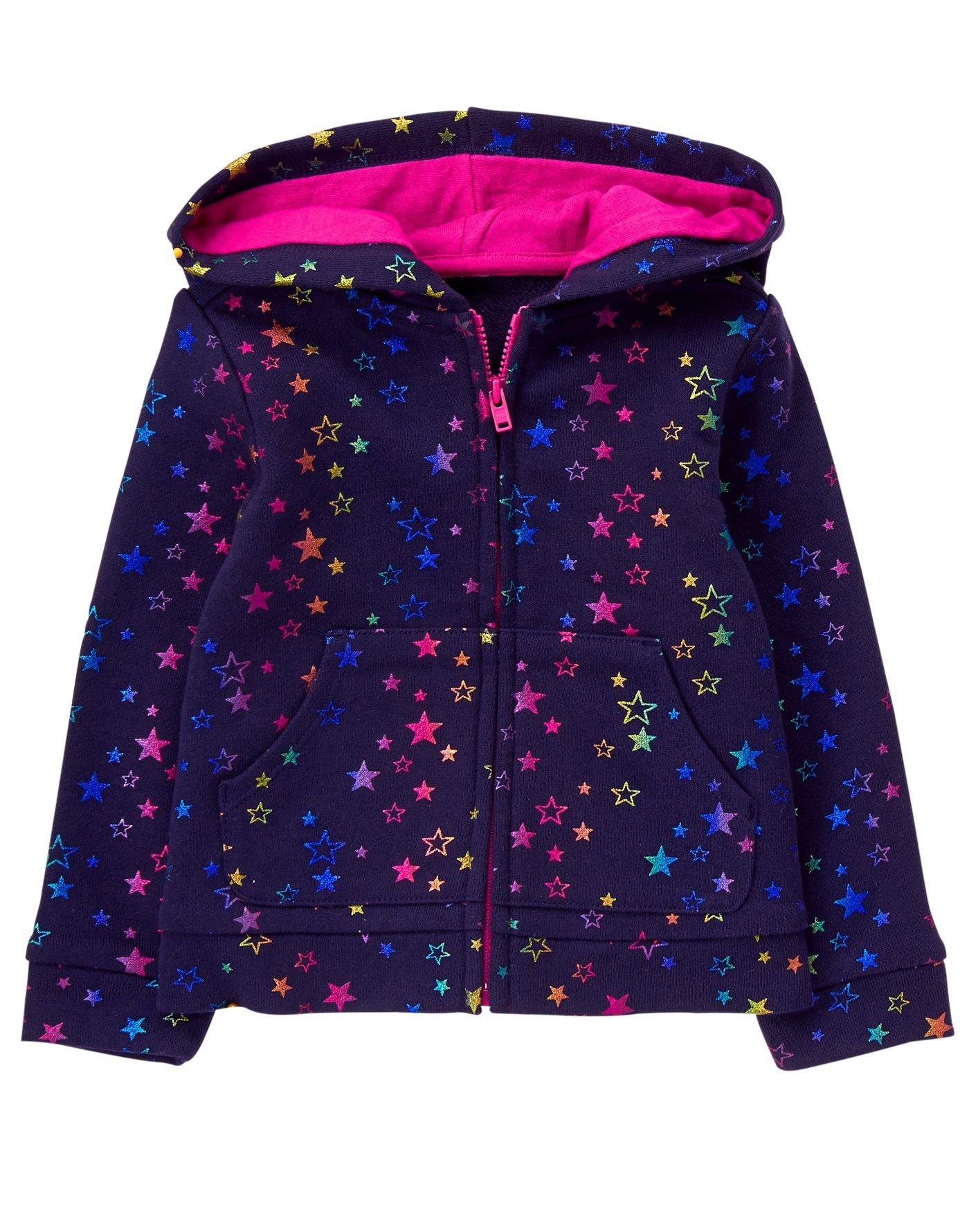 Gymboree Toddler Girls' Star Print Jacket, Bulldozer Blue, 3T
