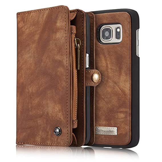 5dfde6fbff3 Premium Genuine Leather Zipper Business Wallet Case Sleeve Detachable Pocket  Purse+Magnetic Phone Back Cover