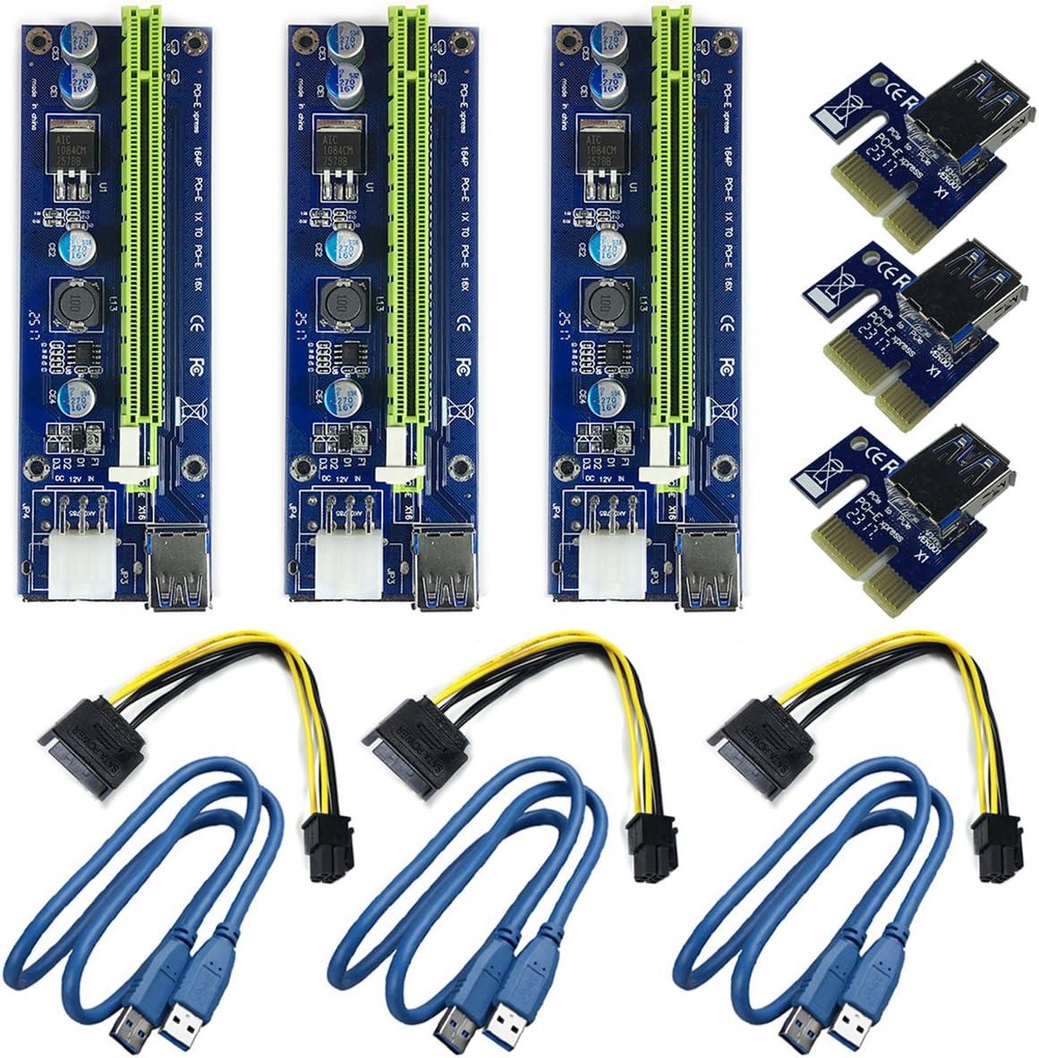 Multibao PCI-E 1x to 16x USB 3.0 GPU Extender Riser Adapter Card Cable Bitcoin Mining 6PIN Power
