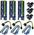 6 Pin PCI-e 1X zu 16X Enhanced Powered Riser Adapter Card & USB 3,0 Verlängerungskabel und 6pin auf SATA Power Cable & GPU Riser Adapter, Perfekt für GPU Graphic Card Express Astraleums Mining ETH (3 Stücke)