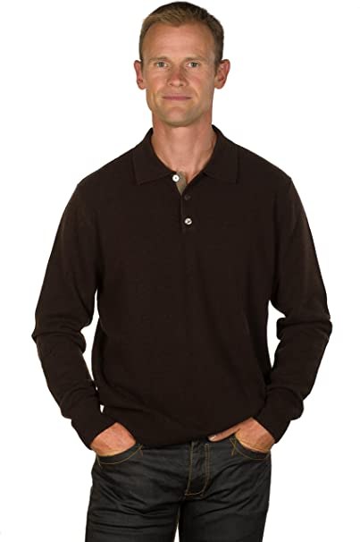 Ugholin - Jersey 100% Cashmere Cuello Polo Marrón para Hombre ...