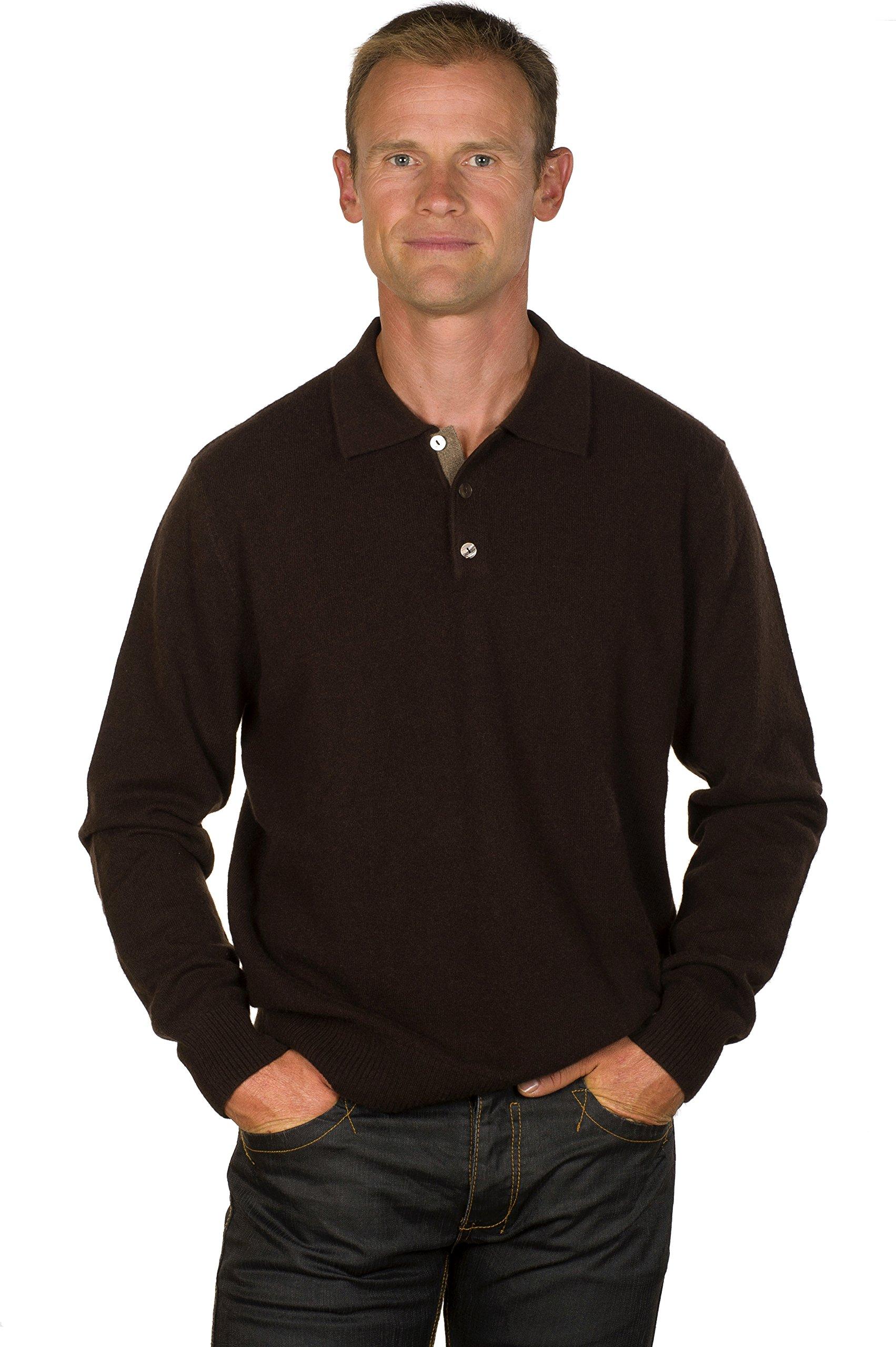 Ugholin Men's 100% Cashmere Polo Style Sweater XXL Dark Brown