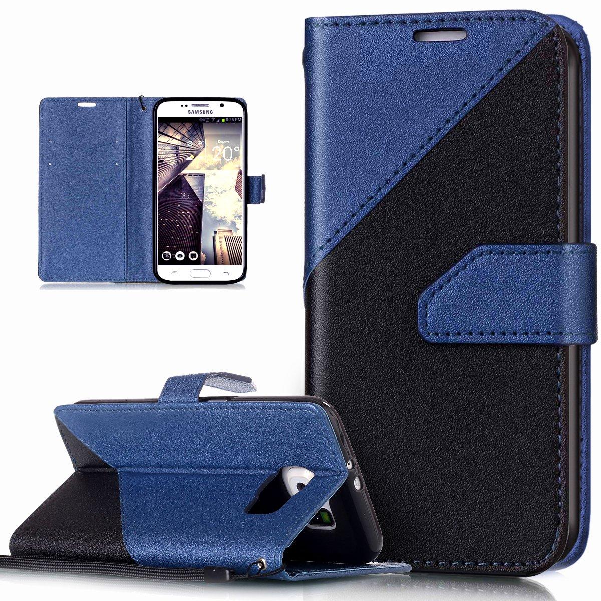 Galaxy S6 Hülle, Galaxy S6 Schutzhülle, Galaxy S6 Leder Hülle, ikasus® Schlagfarbe Nähte Spleiß Stil Naht Farben PU Lederhülle Flip Hülle im Bookstyle Cover Schale Slim Fit Soft Silikon Magnetverschluss Schutzhü