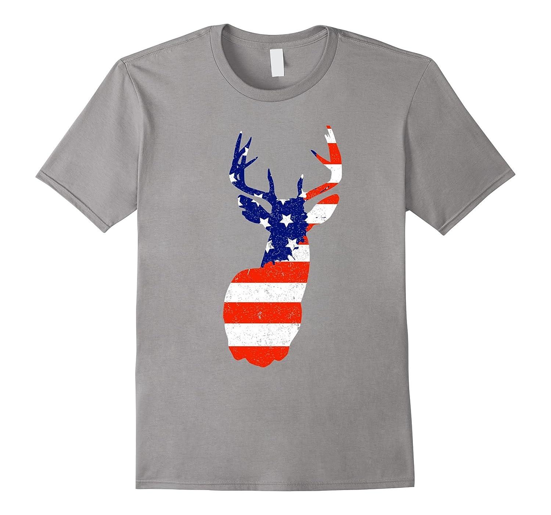 4TH Of July Mule Deer Flag Tshirt-TH