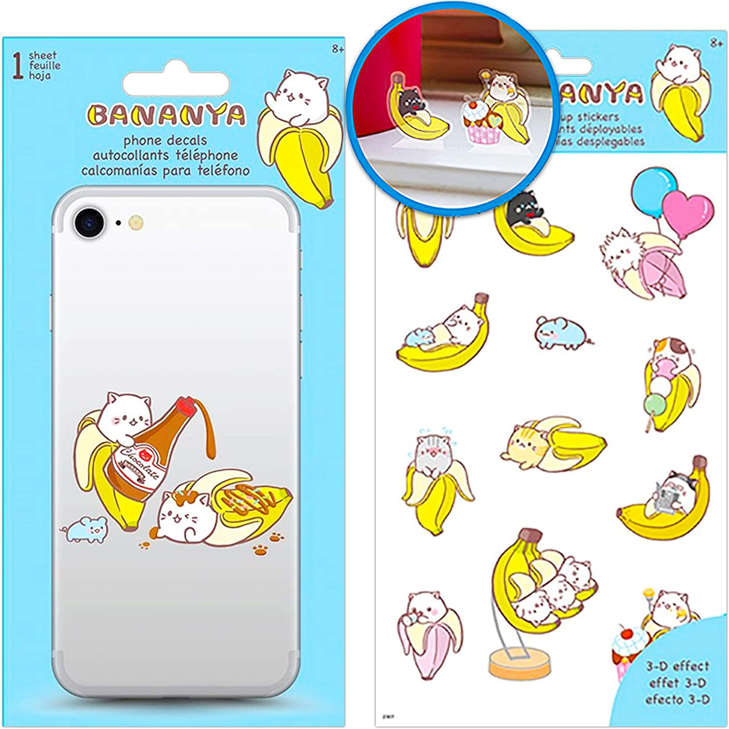 Bananya Sticker Set Bananya Phone Decal 2 Pc Bananya Sticker Set with Bananya Decal for Phones Bananya Gifts Bananya Party Supplies