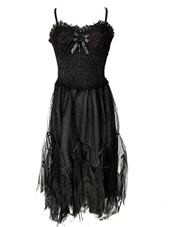 Dark Star Gothic Black Purple Hard Tulle Rose Ribbon Lace Long Ball