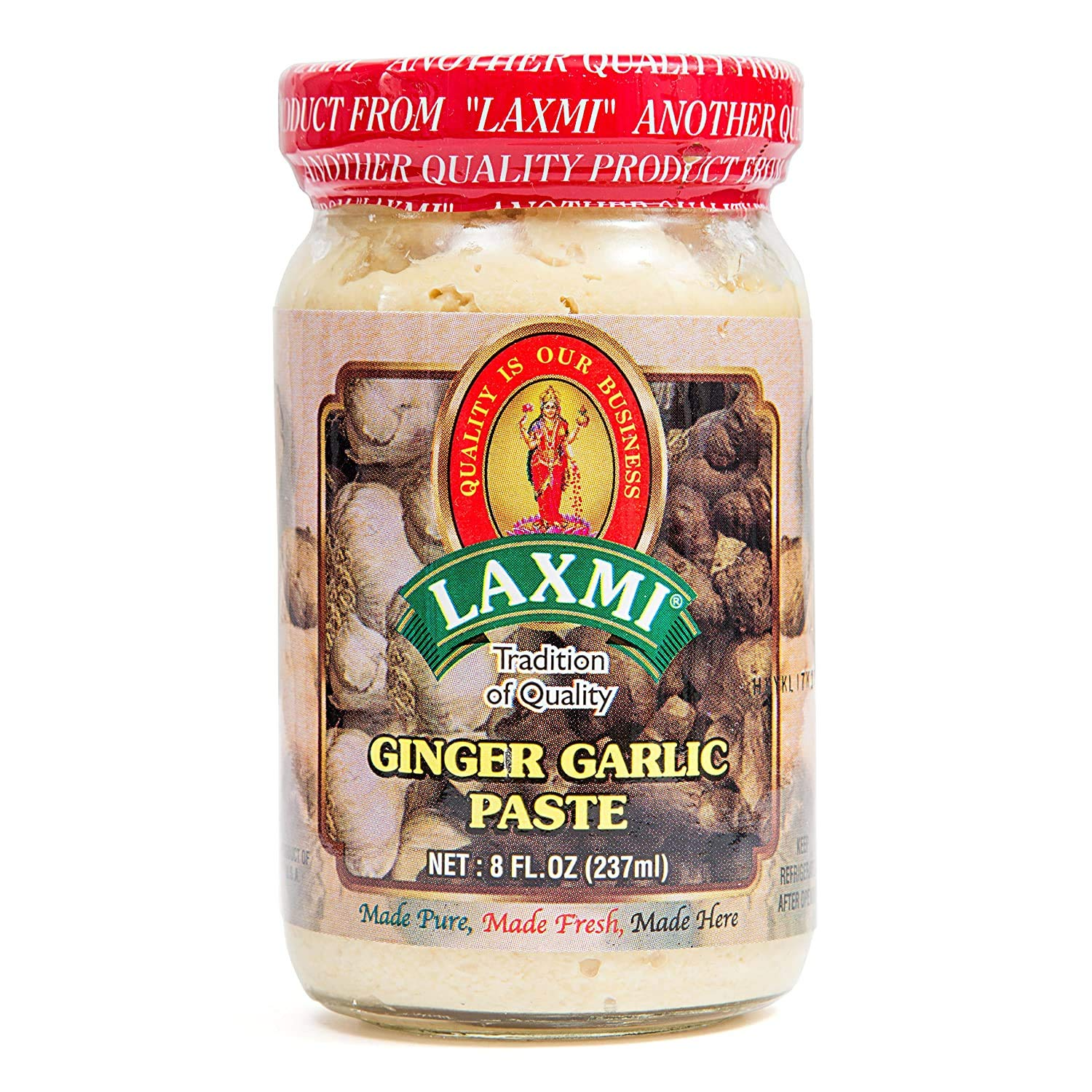 Laxmi Brand Traditional Indian Ginger and Garlic Cooking Paste, Indian Food Staple, Made Pure, Made Fresh, Tradition of Quality, Product of India (8oz)