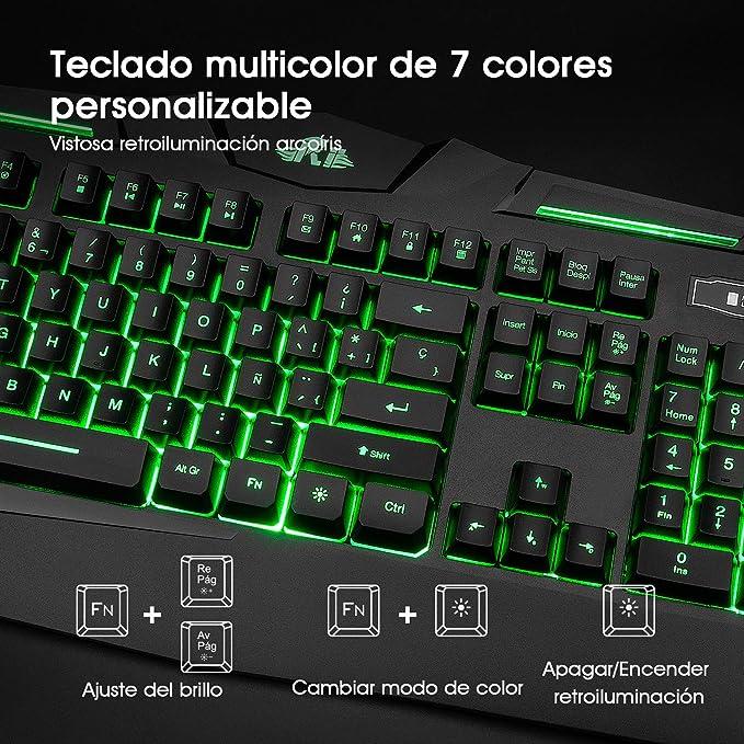Rii RK900 Teclado Multimedia Gaming con sensibilidad mecánica, 7 Colores retroiluminado para Usarlo en la Oscuridad. El más Moderno y avanzado hasta la Fecha. (QWERTY con Layout Español, Negro): Amazon.es: Electrónica