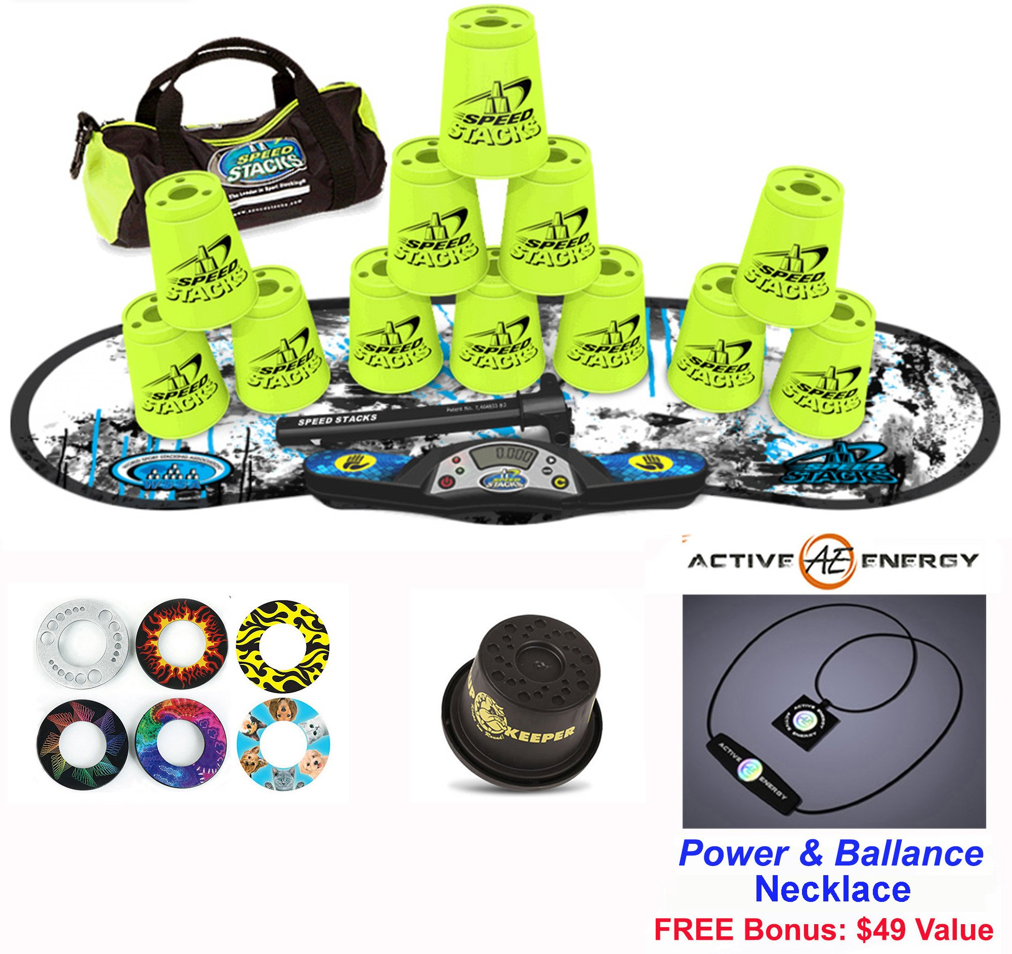 Speed Stacks Combo Set ''The Works'': 12 NEON YELLOW 4'' Cups, REBEL MUDD Gen 3 Mat, G4 Pro Timer, Cup Keeper, Stem, Gear Bag, 6 Snap Tops + Active Energy Necklace by Speed Stacks