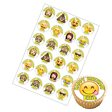 24 X Personalised Emoji Birthday Cup Cake Toppers With Any Name On Decor Real Edible Icing