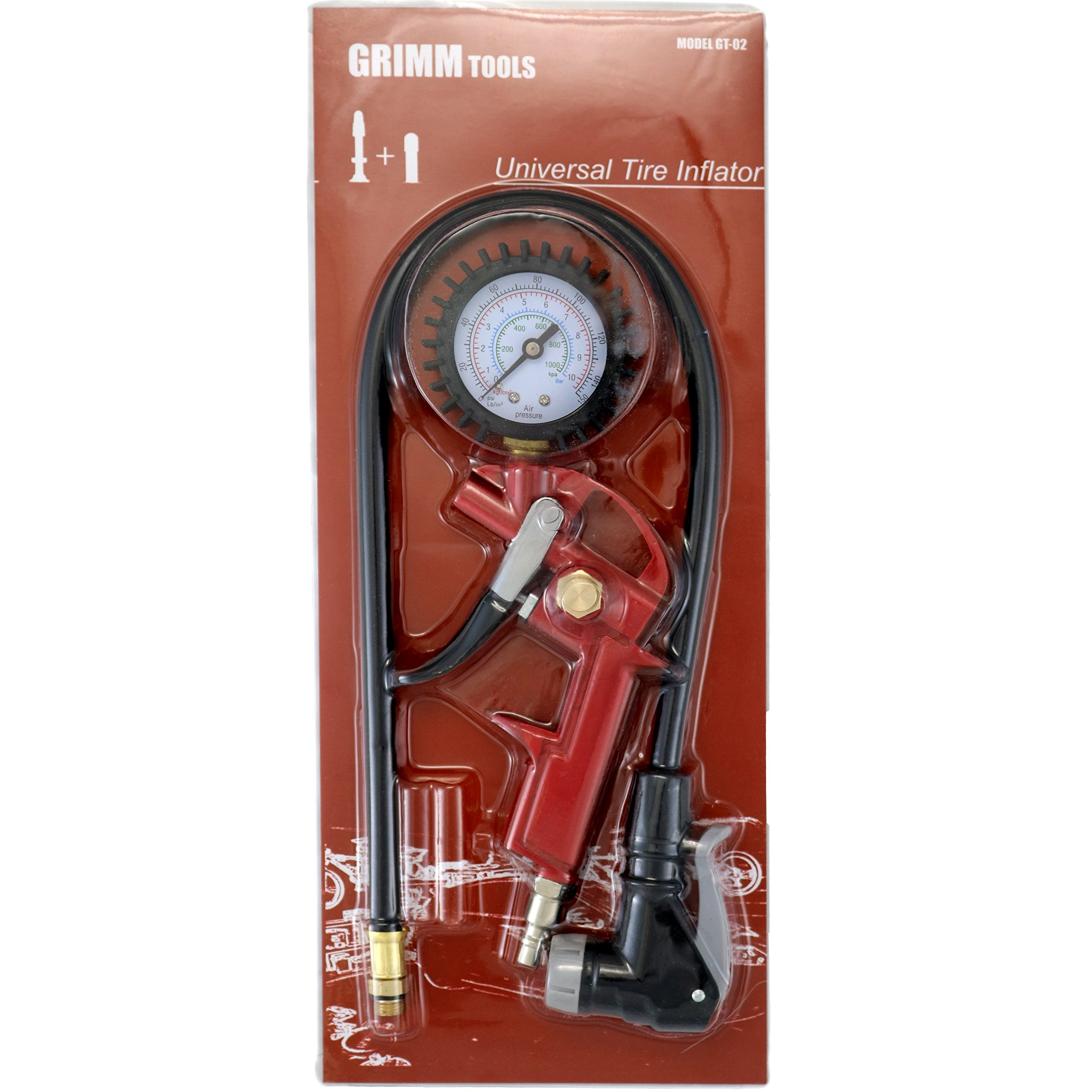 GrimmTools  Universal Bicycle Tire Inflator for Presta and Schrader valves BEST