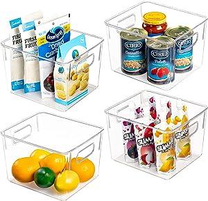 Vtopmart Clear Plastic Pantry Storage Organizer Container Bins, 4 Pack Medium Food Storage Bins with Handles for Refrigerator, Fridge, Cabinet, Kitchen, Freezer Organization and Storage, BPA Free