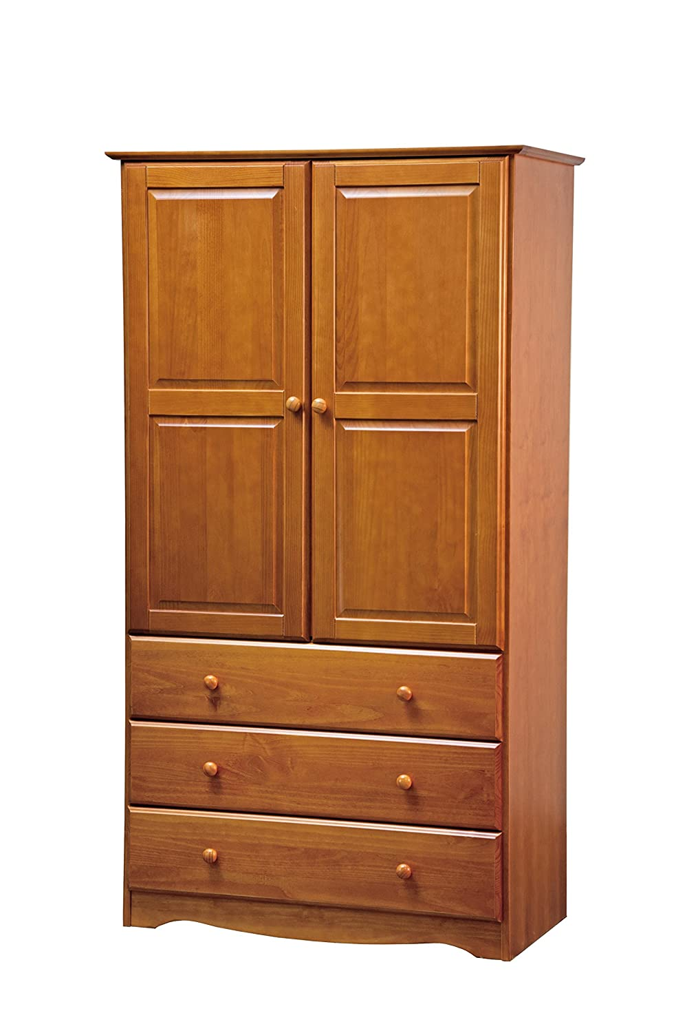 New! 100% Solid Wood 40'-Combo Wardrobe/Armoire/Closet/3-Drawer Chest Palace Imports, Mahogany, 40' W x 72' H x 21' D. 1 Clothing Rod Included. Additional Shelves Sold Separately. (Honey Pine) 5954